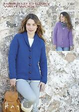 Sirdar 7381 Knitting Pattern Womens V Neck & Collared Cardigan Chunky with Wool