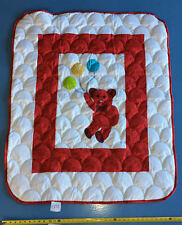 Nice Hand Applique Red Teddy Bear QUILT TOP -- Simple Clam Shell quilting