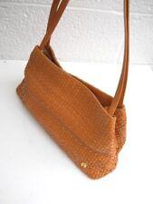 Etienne Aigner Woven Sandy Brown Leather 3-Compartment  Handbag / Shoulder Bag
