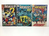 Avengers 51, 73 & 82 *Lot of 3* Silver Age Comic Books Marvel Lower to Mid-Grade
