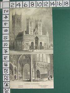c1830 ANTIQUE PRINT ~ LINCOLN CATHEDRAL WESTERN TRANSEPT BISHOP LONGLAND'S