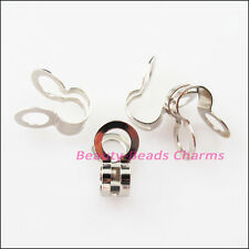 60Pcs Charlotte End Crimp Bead Tip Dull Silver Plated Bail Connectors 8x13mm