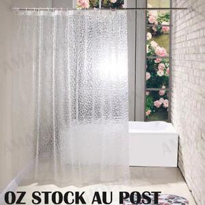 180*180cm 3D Bath Shower Curtain Clear Plastic Diamond Cube Thick PEVA 12 Hooks