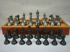 VINTAGE STAUNTON JAQUES PATTERN  METAL CHESS SET K 4 inch AND FOLDING BOARD