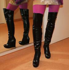 BIONDINI Wedges Echtleder Überknie Stiefel High Heels schöner langer Schaft 37