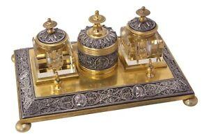 Antique Victorian Neo Classical Brass Desk Stand Inkwells Pen Rest