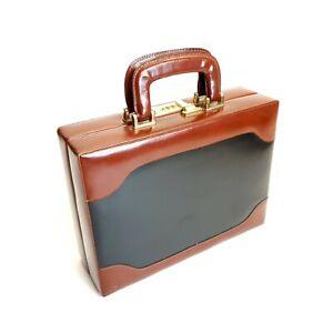 Presto Brief Case ~ Leather ~ small carry case ~ Black & Brown ~ Vintage?