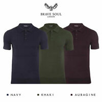 Brave Soul Columbus Mens Knitted Short Sleeve Polo Shirt RRP £30