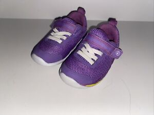 Stride Rite Purple Mesh Size 4 Wide Toddler Baby Girl's Shoes Sneakers EUC