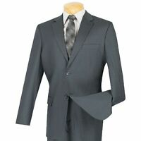 VINCI Men's Gray Pinstriped Wool 2 Button Classic Fit Business Suit NEW