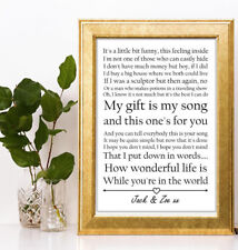 Elton John Your Song Lyic personalised gift a4 print valentines anniversary