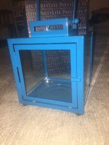 BNIB Partylite Grecian Lantern Jar Candle Holder New Boxed Blue Metal