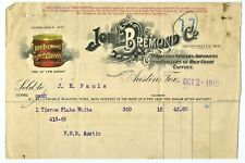 GRAPHIC COLOR 1916 AUSTIN TEXAS JOHN BREMOND CO. COFFEE GROCERY BILLHEAD