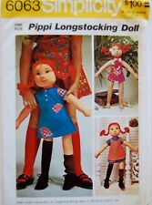Simplicity 6063 Pippi Longstocking  Stuffed Vintage Rag Doll Pattern Uncut