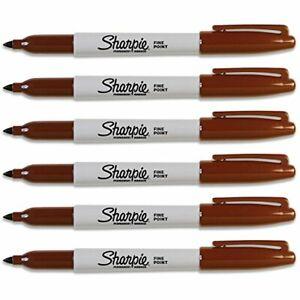 Sharpie Fine Point Brown Original Permanent Marker 6-Each