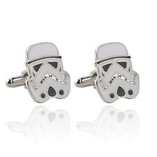 New Star Wars Storm Trooper Enameled Retro Logo Symbol Cufflinks Suit Gift Bag