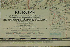 Vintage 1957 National Geographic Map of Europe
