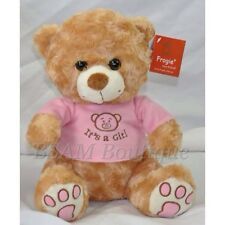 It's a Girl 25cm Golden Brown Teddy Bear with Pink Jacket, Newborn Baby Gift