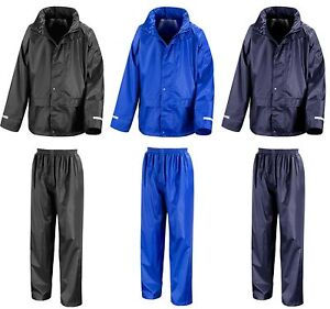 Childs Waterproof Jacket and Trousers Rain Suit Set Kids Childrens Boys Girls