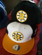 Boston Bruins NHL Vintage Fitted Flat Bill Brim Hat Cap Retro White Gold & Black