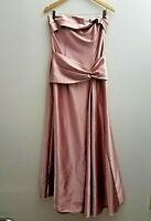 Jessica McClintock Strapless Dress 12 Solid Pink Full Length Drape VTG USA
