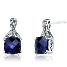 14K White Gold Created Sapphire Earrings Ribbon Design Cushion Cut 6.00 ct