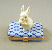 New French Limoges Trinket Box Bunny Rabbit W Carrot On Blue Geometrical Box