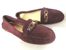 COACH Fortunata US 9M Burgundy Suede Leather Driving Loafers w CC Logo