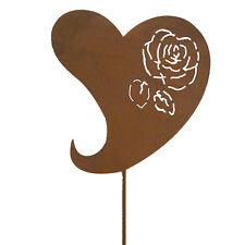 Gartenstab Gartenstecker Gartenfigur 120cm Dekoration Rost Metall Rose Herz Deko