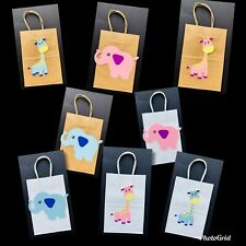 12 Unit Baby Shower Candies Bags Paper Kraft 5x3x8 Size, White And Brown Color
