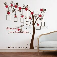 Removable Red Flower Photo Frame Tree Wall Decal Sticker Vinyl Home Art Decor