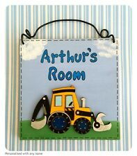 Digger Child's Door Sign ~ Personalised With Name - Plaque - Handmade Wooden