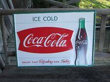 Coca-Cola Steel Sign Fishtail Ice Cold Coca-Cola Logo    - BRAND NEW