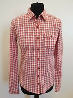 EE7 WOMENS HOLLISTER RED WHITE BLUE CHECK FITTED L/SLEEVE SHIRT UK S 8