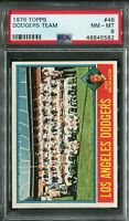 1976 Topps #46 Dodgers Team Card PSA 8 NM-MT