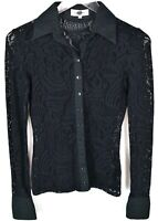 Anne Fontaine Black Lace Blouse Top Shirt Sz 36 Long Sleeve Button Up Collared