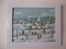 """Charlotte Julian - """"Le village sous la neige"""" - Art Naïf - Acrylique - Tableau -"""