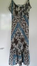 Ladies Marks and Spencer Sleeveless Sun Dress Blue Cream Brown Size 10