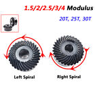 Left/Right Spiral Bevel Gears 1.5/2/2.5/3/4 Modulus 90° 1:1 Pairing 20T 25T 30T