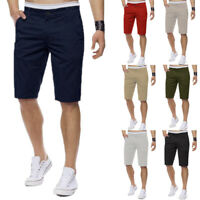 Men Chino Shorts 100% Cotton Work Summer Casual Cargo Combat Half Pants Trousers