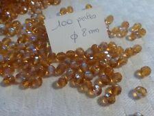 lot 100 PERLES anciennes en cristal bohème à facettes topaze ab 8 mm