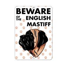 Beware of English Mastiff Dog Metal Sign - 8 In x 12 In