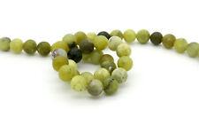 Natural Lemon Green Jade Matt Round Sphere Ball Losse 8mm Gemstone Beads - Full