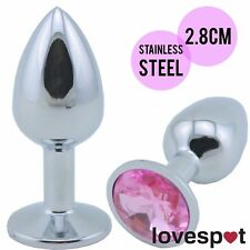 Stainless Steel Anal/Butt Plug with Pink Crystal/Jewel 2.8cm Small Sex Toy