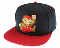 Nintendo Super Mario Hat Pixel Mario Character Black Snapback Hat - One Size