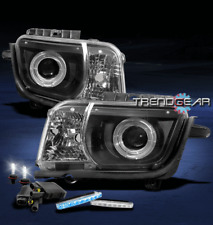 2010-2013 CHEVY CAMARO DOUBLE HALO BLACK PROJECTOR HEADLIGHT+BLUE DRL LED+6K HID