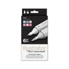 Espectro Noir-Ilustrador doble extremo artista Craft Pen Set-Tonos 6 Pack