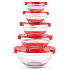5pc Glass Mixing Containers Lunch Storage Bowl Set With Lids Food Cooking Baking