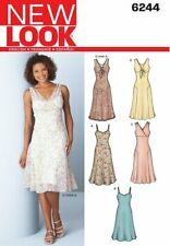 New Look 6244 MISSES DRESS & SLIP PATTERN w/BOW TIE FRONT WRAP BODICE Size 8-18