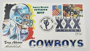 Troy Aikman Cowboys Superbowl XXX Wild Horse Cachets FDC HP 1996 #89/135